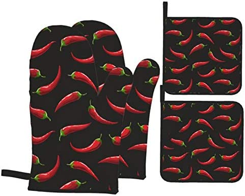 Red Hot Chili Pepper Oven Mitts and Potholders Professional Heat Resistant Cotton Oven Mitts product image