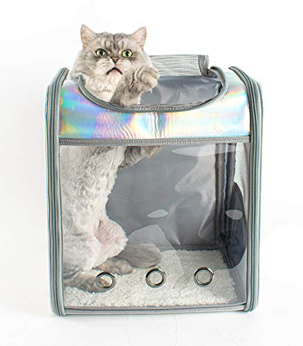 HKMA Espacio Transpirable Transparente Plegable para Perro, Gato, Cachorro, Mochila, Portador de Mascotas, Impermeable, portátil, láser, Viaje para Mascotas, Transpirable