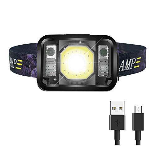 Linterna Frontal LED USB Recargable, KEEHOM Linterna de Cabeza con 6 Modos de Iluminación (Luz Blanca y Roja), con Sensor Inteligente, Ángulo Ajustable, Faro para Ciclismo Senderismo Camping Pesca
