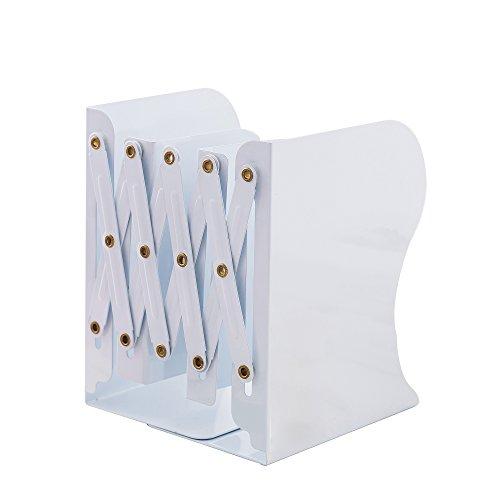 スモゾ(Smozzil) 本立て ブックスタンド 伸縮自在 金属製 仕切りスタンド 卓上収納 ファイル/雑誌/新聞/書類入 ブックエンド多機能 おしゃれ White