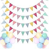 Dusor Wimpelkette Outdoor, Einschulung Deko Wimpelkette 5 Stück 5M 60Pcs Wimpel + 18Pcs Bunte Luftballons, Leinenimitat Wimpelkette Kinderzimmer, Happy Birthday Girlande Geburtstag Party Hochzeit Deko