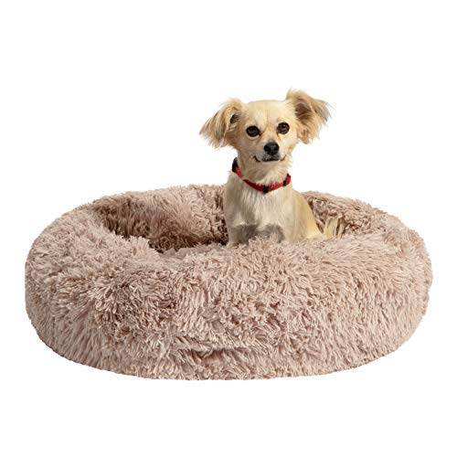 """Houseables Comfort & Anti-Anxiety Dog Bed, Beds for Dogs, 30"""" x 30"""" x 5"""", Beige, Round, Cuddler, Plush Donut Pillow, Cats, Puppy, Snuggle, Slumber Ball, Doggy Nest, Burrow, Washable, Self-Warming"""