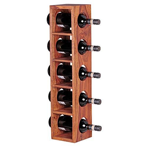 FineBuy Weinregal Massiv-Holz Sheesham Flaschen-Regal Wandmontage für 5 Flaschen Holzregal modern mit Ablage 70 cm Natur-Holz Modern Landhaus-Stil dunkel-braun Kellerregal, Wandaufhängung 15 x 15 cm