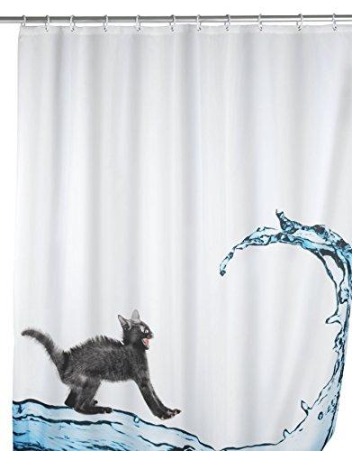 WENKO Anti-Schimmel Duschvorhang Cat, Duschvorhang mit Antischimmel Effekt fürs Badezimmer, inkl. Ringen zur Befestigung an der Duschstange, waschbar, 100prozent Polyester, 180 x 200 cm, mehrfarbig