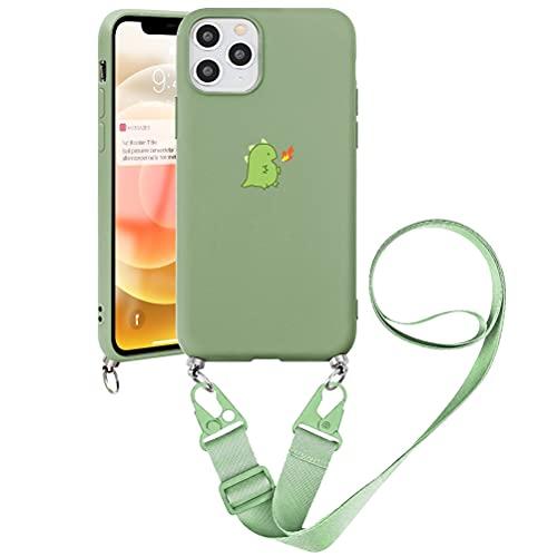 Pnakqil Capa transversal compatível com Samsung Galaxy S10 (4G) 15,1 cm, cordão ajustável para colar capa protetora com TPU macio à prova de choque de silicone para Samsung S10 4G, dinossauro