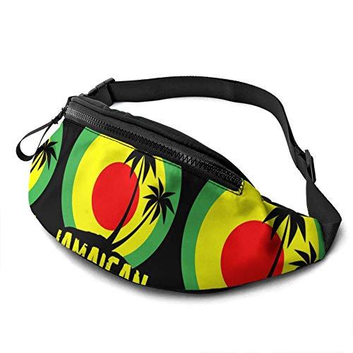 AOOEDM Coconut Tree Reggae Color Jamaican Riñonera Paquete Ligero Portátil Ajustable Riñonera Deportes Corredores Atletas Cinturón Riñonera para Correr Caminar Senderismo
