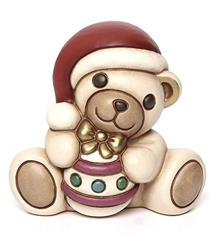 THUN Animali Teddy Con Palla Di Natale + Scatola In Latta, Ceramica, Variopinto