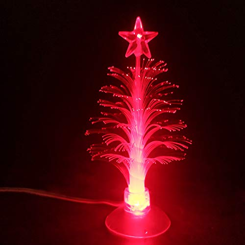 USB Powered Christmas Tree with 7 Multi Colors Changing Fiber Optic Lamp Light Tree Children Xmas Gift Night Lamp Party Home Decor 5 INCH
