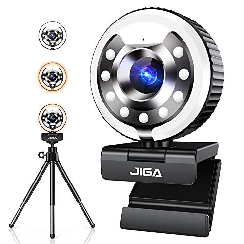 Webcam Mit Mikrofon für PC mit Licht, Webcam 1080P HD, Kamera für PC mit Mikrofon mit Autofokus, Stativ für Computer, Skype, Video-Chat und Aufzeichnung, kompatibel mit Windows Mac und Android