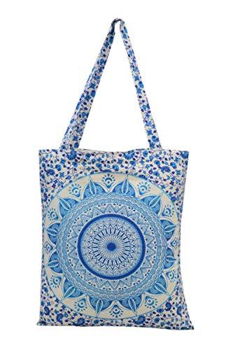 Trade Star Mandala Indian Shopping Bag, Bolsa de algodón Bohemio, Bolso Floral para Mujeres, Bolsa de Playa étnica, Bolsa de Hombro Multicolor