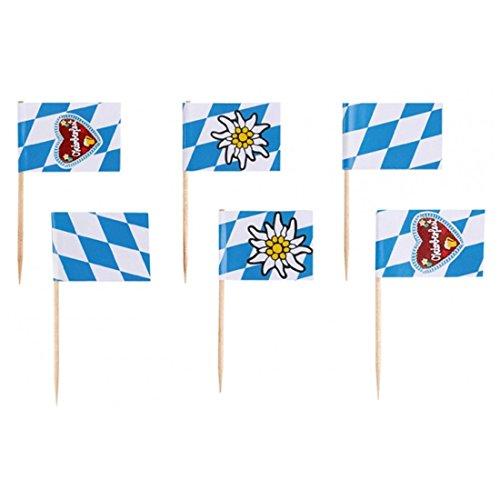 NET TOYS Bayern Flaggen Spieße Oktoberfest Partyspieße 30 STK. Wiesn Party Picker Fahne Häppchen Partypicker Fähnchen Fingerfood Spießchen Partydeko Bayrische Tisch Dekoration Partydeko Bayrisch