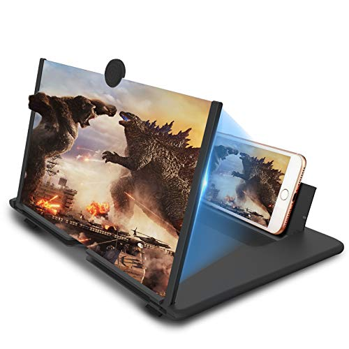 16 inch Foldable Phone Screen Magnifier,Mobile Phone Amplifier with Folding Stand Holder Portable Anti-Radiation Movie Video Enlarger Phone Magnifier Screen with Pull Design for All Smartphone-Black