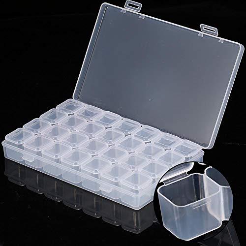 28 Slots Nail Art Boîte de Rangement Diamant Broderie Boîte Vide en Plastique Transparent Conteneurs pour Nail Art Décoration Strass Gem Perle Conteneur pour DIY Artisanat
