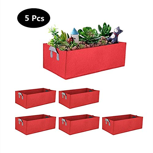 JYL Erhöhtes Gartenbett, Kartoffel-Wachstumstaschen, Stoff-Erhöhte Gartenbetten für Pflanzen, Blumen und Gemüse, 40 x 30 x 20 cm, 5-TLG,Rot