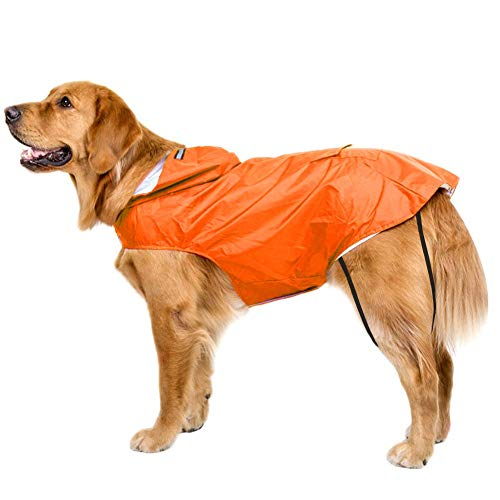Bwiv Hunde Regenmantel Wasserdicht Regenjacke mit Reflektor Hundemantel Groß Gefüttert Ultraleichte Atmungsaktive Reganmantel Hundejacke Reflexstreifen Regenjacke Hunde Mit Kapuze Orange