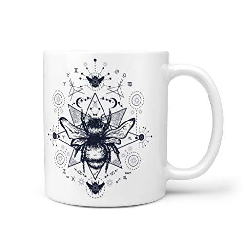 OwlOwlfan Taza de cerámica de abeja divertida taza de café taza de té con asa para cafetería bar festival de cumpleaños regalo para mujeres hombres blanco 11 oz