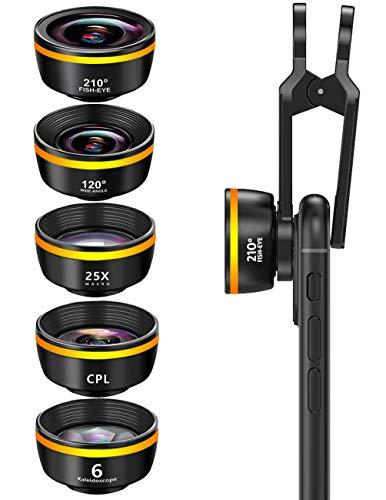 Lente de cámara de teléfono, kit de lente de clip para teléfono celular 5 en 1, lente ojo de pez de 210° + lente macro 25X + lente gran angular de 120°, CPL+caleidoscopio, para la mayoría de teléfonos iPhone y Android