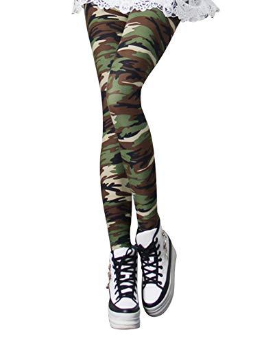 Bestgift Dames 3D Kleurrijke Yoga Sport Leggings camouflage legergroen eenheidsmaat