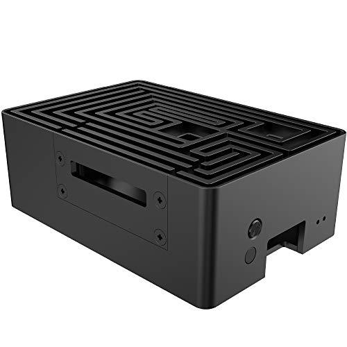 Akasa Maze Pro Gehäuse für Raspberry Pi 4, Power-Taste, passive Kühlung, Thermopads, Aluminium-Kühlkörper, Lüfterloses Gehäuse, A-RA10-M2B, für Raspberry Pi 4 Modell B