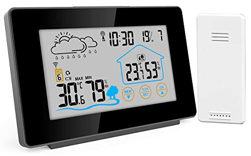 infactory Temperaturmesser: Funk-Wetterstation mit Außensensor, Display-Touchfunktion, Wettertrend (Digitale Wetterstation)