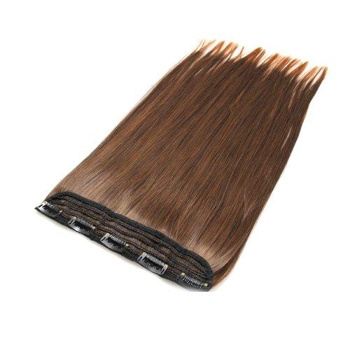 BiYa Hair Elements Thermatt 2T30 Extension capillaire à clipser lisses Châtain pointes décolorées Couleur numéro 2T30 45 cm 80 g