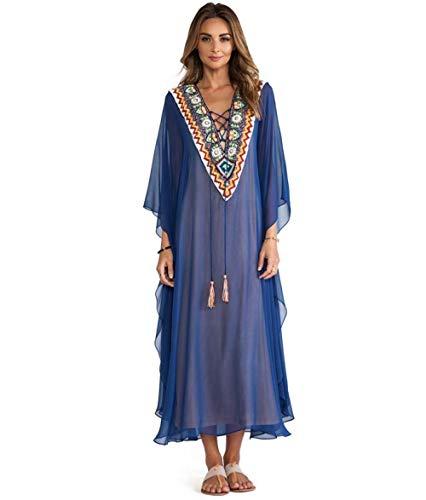 Bordada Cover Up Plus Size Chiffon Beachwear Woman Tunic Blue Bath Dress Robe Plage-como Foto_Un tamaño