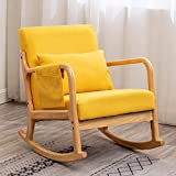 OKAKOPA Living Room Rocking Chair, Single Sofa Chair with Thick Padded Cushion and Pillow Linen Accent Chair Glider...