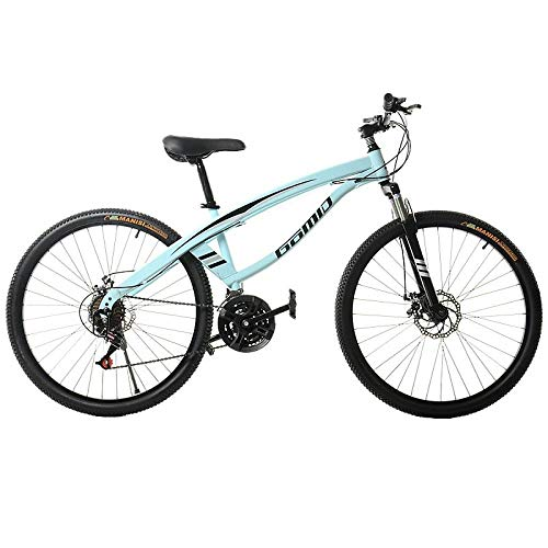 DGAGD Bicicleta de montaña de 26 Pulgadas, luz de Velocidad Variable, Rueda de radios de 21 velocidades, Azul Claro