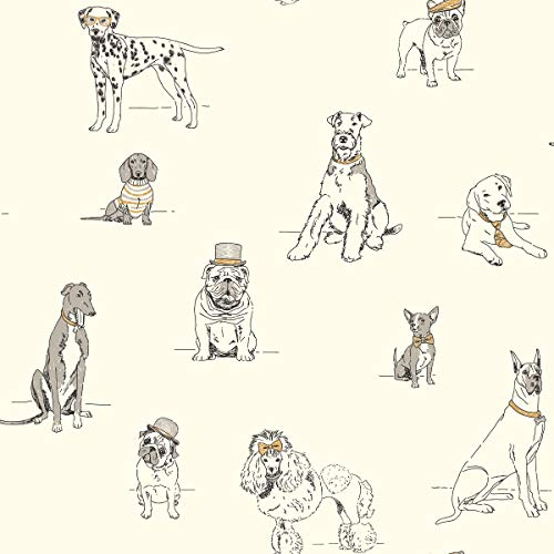 York Wallcoverings Ashford Toiles Dog's Life Removable Wallpaper, Silver/Metallic Gold