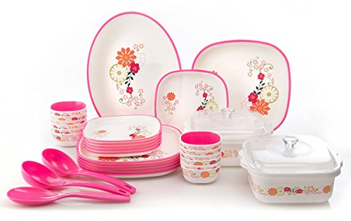 Nayasa Printed Plastic Dinner Set, 32-Pieces, Pink