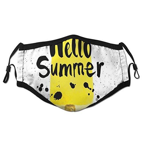 Bequeme Hallo Sommerphrase mit Zitronengeschmacks-Symbol und Aquarell-Spritzern, gedruckte Dekorationen für erwachsenes Kind