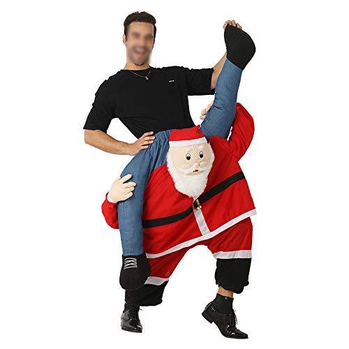 Draag me Kerstman kostuum, dragen Kerstman Kostuum Ride Me Kerstfeest Piggyback pak Mens nieuwigheid