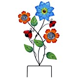 Flowers Garden Stake Decor: 28 Inch height garden ornaments features multiple eye-catching bright flowers with green leaves and ladybugs. Place the colorful vivid metal flower stake in your garden, yard or anywhere you want, it will bring more refres...
