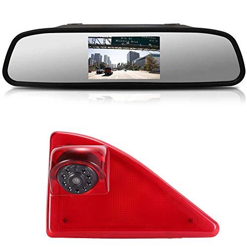 Kalakus Rückfahrsystem mit Rückfahrkamera im 3. Bremslicht Bremsleuchte Kamera+4,3 \'\' Zoll Rückspiegel für Opel/Vauxhall Movano ab 2010/Renault Master ab 2010/Nissan NV400 ab 2010