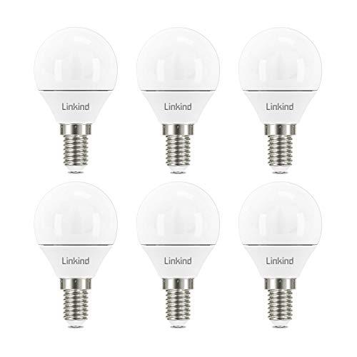 Bombilla LED Linkind E14, bombillas regulables para golf P45, tornillo pequeño Edison (SES), 5 W, 5000 K, luz blanca diurna, 470 lm, no apto para lámparas regulables de 3 vías, paquete de 6
