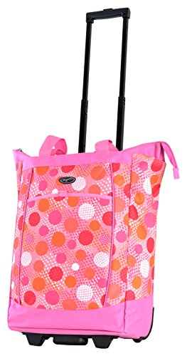 Olympia Fashion Rolling Shopper Tote - Pink Polka Dots, 2300 cu. in.