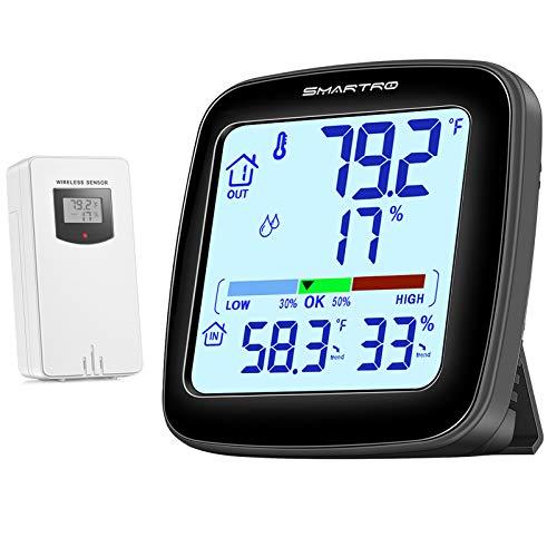 SMARTRO SC92 Professional Indoor Outdoor Thermometer Wireless Digital Hygrometer Room Humidity Gauge...