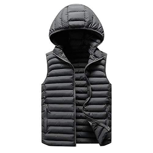 Los hombres con capucha Chalecos Chaqueta Invierno Gruesa Naranja Hombres Abrigos Sin Mangas Cuello Casual Ropa de los Hombres