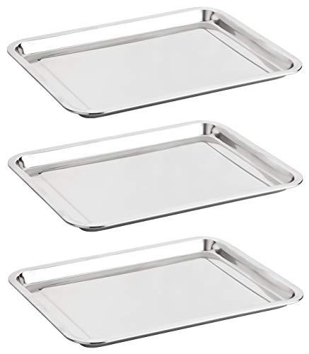 Alpha-Stahl Edelstahl Serviertablett 40x30cm – Poliertes Tablett/Tabletts für Gastronomie & Haushalt – auch als Essens-Platte (2er oder 3er Pack) (3)