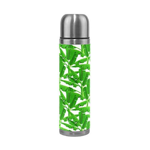 Emoya Bouteille isotherme en acier inoxydable Motif feuilles de bananier Vert tropical 0,5 l