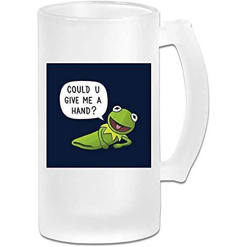 Gedruckte 16oz Milchglas Bier Stein Tasse Tasse - Die Muppets Kermit Der Frosch Gib mir eine Hand - Grafikbecher