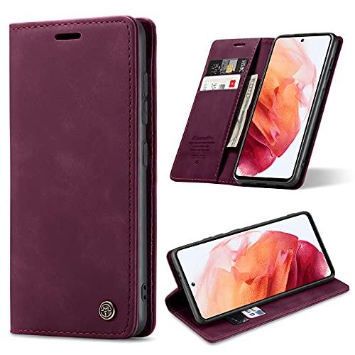 ivencase Funda Compatible con Samsung Galaxy S21 5G con Fundas de Cuero Magnético Tarjetero y Billetera Flip Protectora Carcasa Samsung Galaxy S21 5G (Vino Rojo)