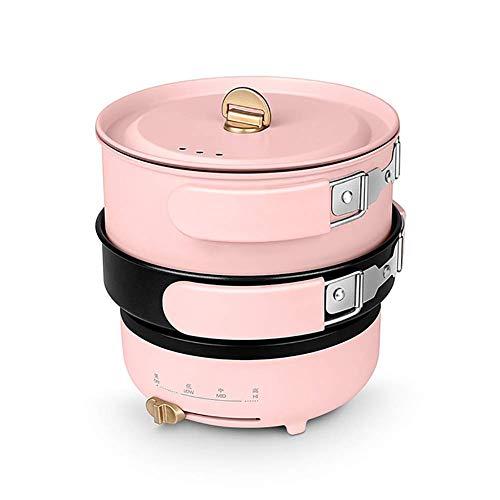 Acciaio inossidabile Split Slow Cooker Antidry & 3 Impostazioni di calore Pieghevole Multi Electric Pot Pot Pot Frying Pan 2 L DDLS (Size : Pink)