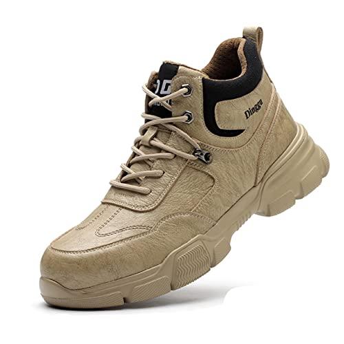 AINGRN Zapatos de Seguridad para Hombre, Puntas de Acero Antideslizantes SRC Calzado  de Trabajo Anti- Piercing de Peso Ligero Impermeable Invierno Cálidas Botas Antideslizante
