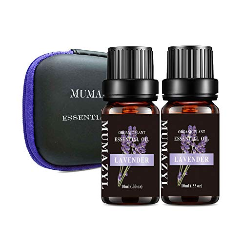 MUMAZYL 2Pack Lavender Essential Oils Organic Olant & Natural 100% Pure Therapeutic Grade Lavender Oil Perfect for Diffuser, Humidifier, Massage, Aromatherapy, Skin & Hair Care-2x10ml