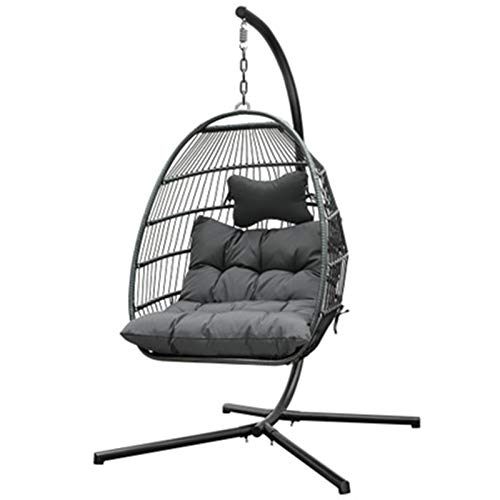 BMNN Hanging Egg Chair Indoor Outdoor Patio Wicker Hanging Chair Swing Hammock Chairs UV Resistant Cushions with Frame Capaticy for Patio Backyard Balcony Wicker Hanging Chair