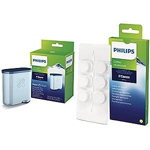 Philips Ca6903/10 Filtro De Agua Aquaclean Para Máquinas De Café Espresso Automáticas, Verde, 6X9.5X14.5 Cm + Saeco Ca6704/10 Pastillas Quitagrasas Para Cafeteras, Pack De 6, Plástico, Verde