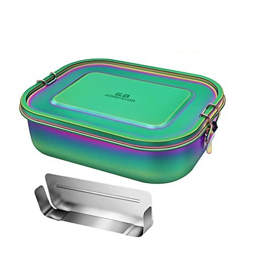 Calm Cozy Edelstahl Brotdose 1400 ml Auslaufsichere Groß Metall Lunchbox Bento Box mit Herausnehmbarer Trennwand Vesperdose Brotbüchse Brotzeitbox für Kinder Erwachsene, Regenbogenfarbe