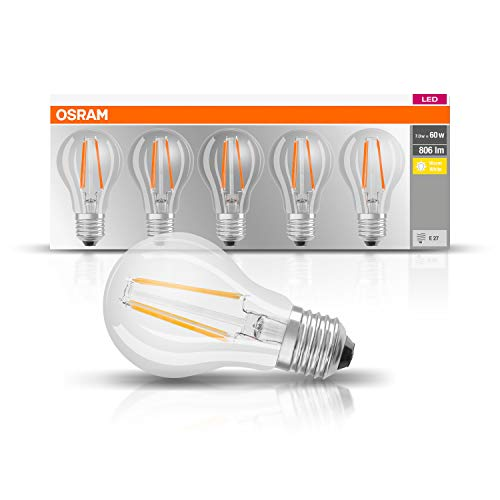 Osram Led Base Classic A Lamp, E27, 2700 K, 7 W, Helder, 5 Stuks, Warmwit