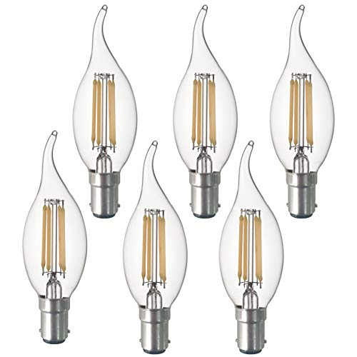 SD LUX B15 LED Candle Bulbs Vintage Filament Led Light Bulbs,CA35 No Flicker Small Edison Bayonet LED Chandelier Bulbs - 4W (40W Equivalent) 450LM Warm White 2700K,6 Packs? [Energy Class A+]